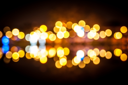 Bokeh light of the lamp in the night photo