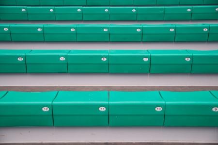 grandstand: Green grandstand in the stadium