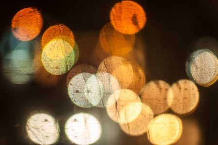Bokeh light of the cars on the road photo