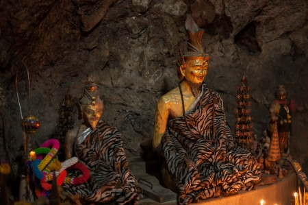 recluse: Hermit statue in the cave at Phetchaburi Province, Thailand. Stock Photo