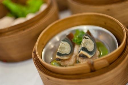 dim sum in bamboo steamer photo