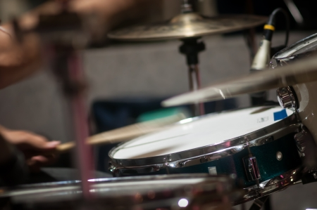 Drum set with focus on hi-hat cymbal Stock Photo
