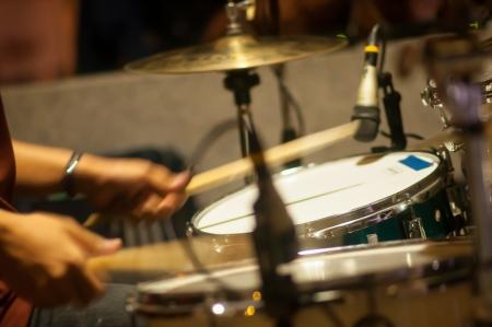 Drum set with focus on hi-hat cymbal Stockfoto