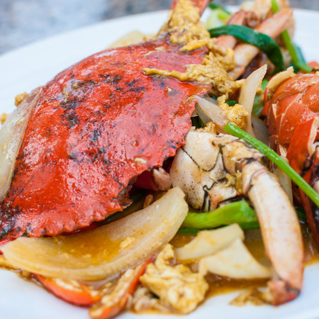 Fried sea crab with curry powder Thailand cuisine photo