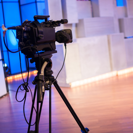 definition high: professional high definition camcorder on a tripod Stock Photo