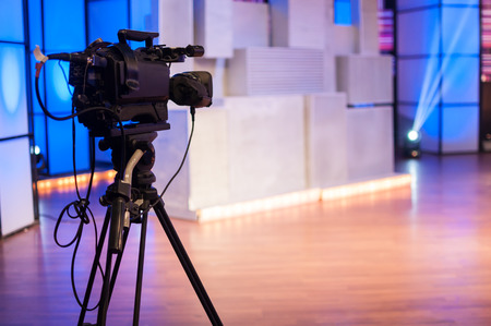 recording studio: professional high definition camcorder on a tripod Stock Photo
