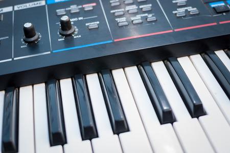 Music Synthesizer closeup. keyboard and controls