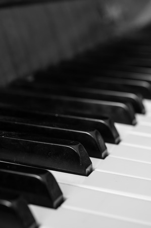 Piano keys closeup in black and white photo