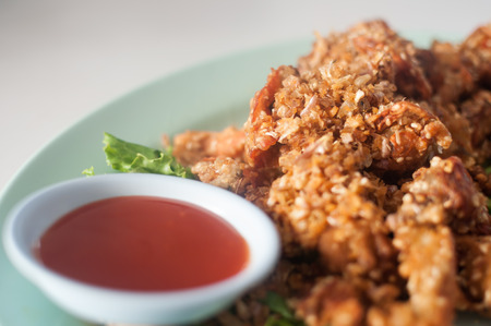 Deep fried Soft Shell Crab garlic and sweet sauce photo