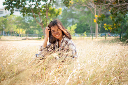 Leisure activities of girl photographer in fine weather