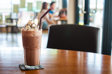 Iced cocoa and whipped cream topped with chocolate Stock Photo