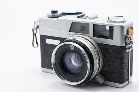 Film cameras that had been popular in the past, Isolated on white background photo