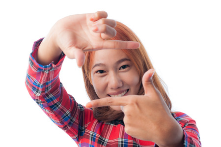 Isolated young casual woman camera gesture photo