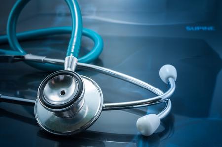 Close-up of stethoscope on x-ray image photo