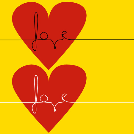 Love text in red heart Vector