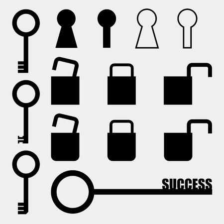 collection of silhouette key Vector