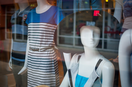 Female mannequins inside a fashion house photo
