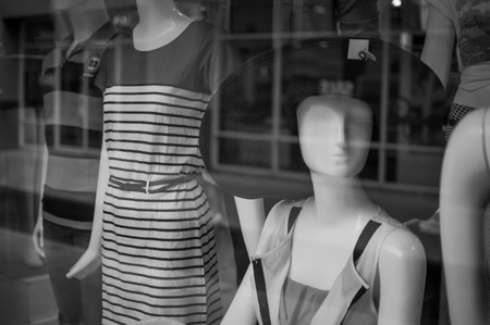 Female mannequins inside a fashion house, Black & White image photo