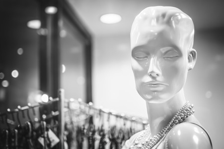 Female mannequins inside a fashion house, Black & White image