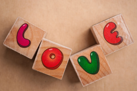 Wooden blocks spelling out the word love photo