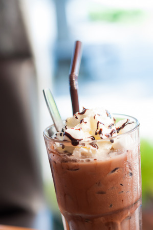 creamed: Iced cocoa and whipped cream topped with chocolate Stock Photo