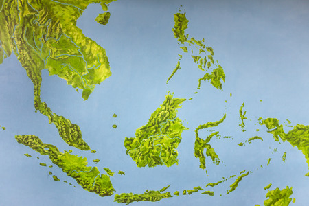 Painting map of Southeast Asia on the wall Stock Photo