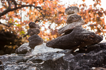 Stack of stones in the forest Stock Photo