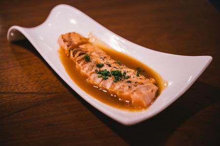 Salmon sashimi burned. Healthy Japanese (Japanese food) Stock Photo
