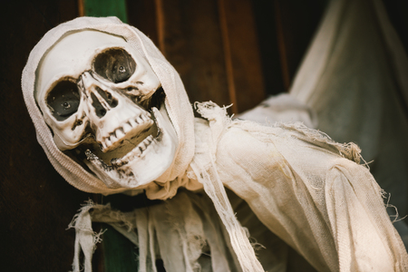 amok: Skeleton doll wrapped with the Shroud Stock Photo