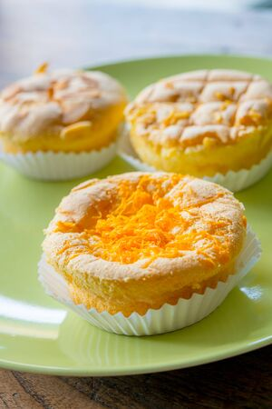 bakery products on paper cup calling Mamon Cake, Soft Cake or Sponge Cake