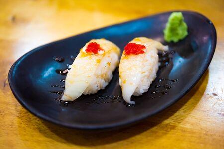 Engawa nigiri. Healthy Japanese Nigiri Sushi with Rice and Fish (Japanese food) Stockfoto
