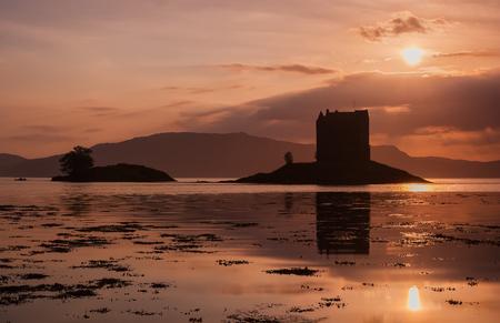 Ruins Scottish Castle Stalker at sunset