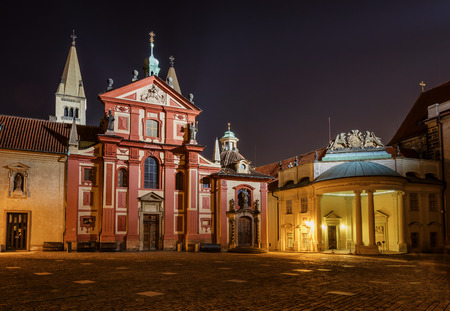 St. Basils Basilica George at night. Prague