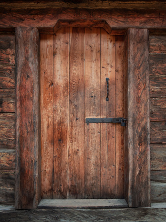 Old medieval wooden door.