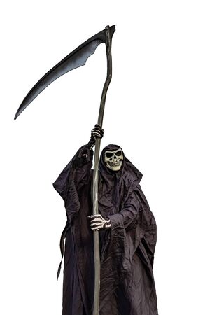 a scythe, dressed in black, on a white background 스톡 콘텐츠