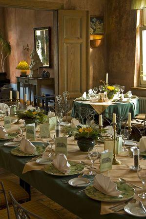 table prepared for dinner