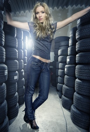 car garage: tires department Stock Photo