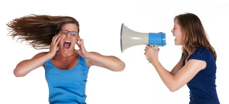 woman screaming: to loud Stock Photo