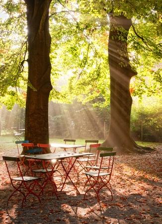 garden furniture: sunbeams Stock Photo