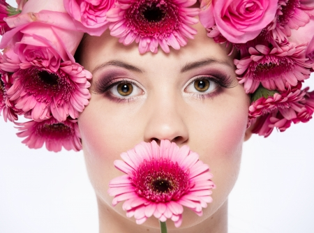 pink flowered face photo
