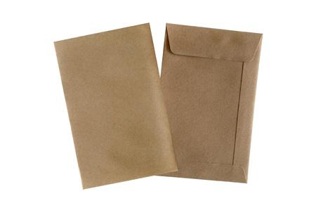 typer: Brown envelopes on white background