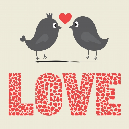 love birds: Love bird card Illustration