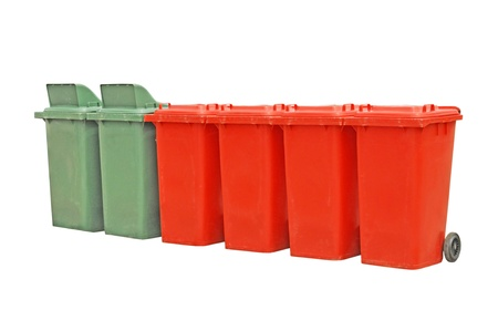 Trashcans on a white background  Stock Photo