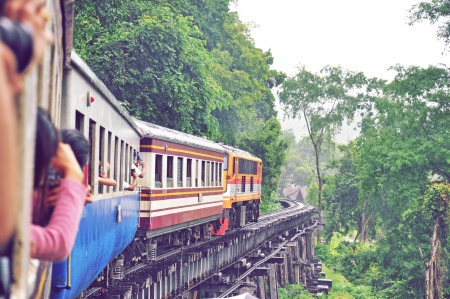 Train on death railway photo