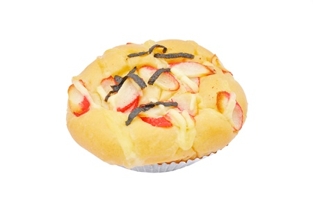 alga: Crab and alga bread on a white background
