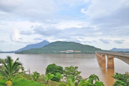 khong river: Laos Japanese Bridge Stock Photo