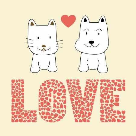 perro caricatura: Gato y perro en tarjeta de amor para todo el mundo