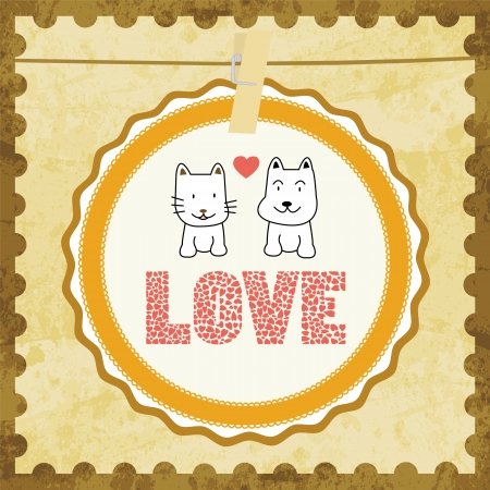 Cat and dog in love  Card for everyone  Vector