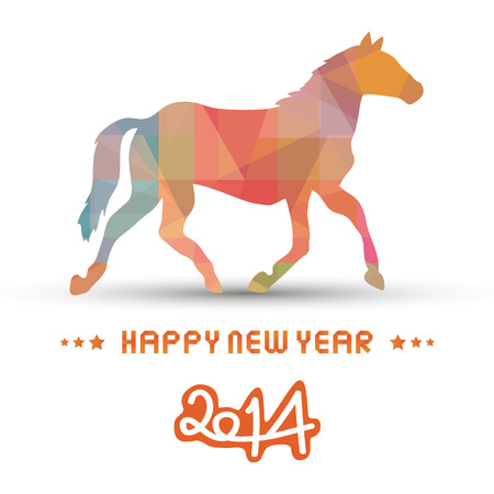 Happy new year 2014 card  Year of the Horse