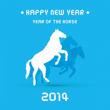 Happy new year 2014 card  Year of the Horse  Vector
